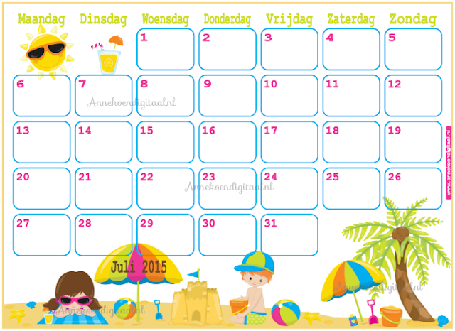 kalender voor kinderen, aftel kalender, vakantie kalender, juli kalender, verjaardag kalender, zomer kalender