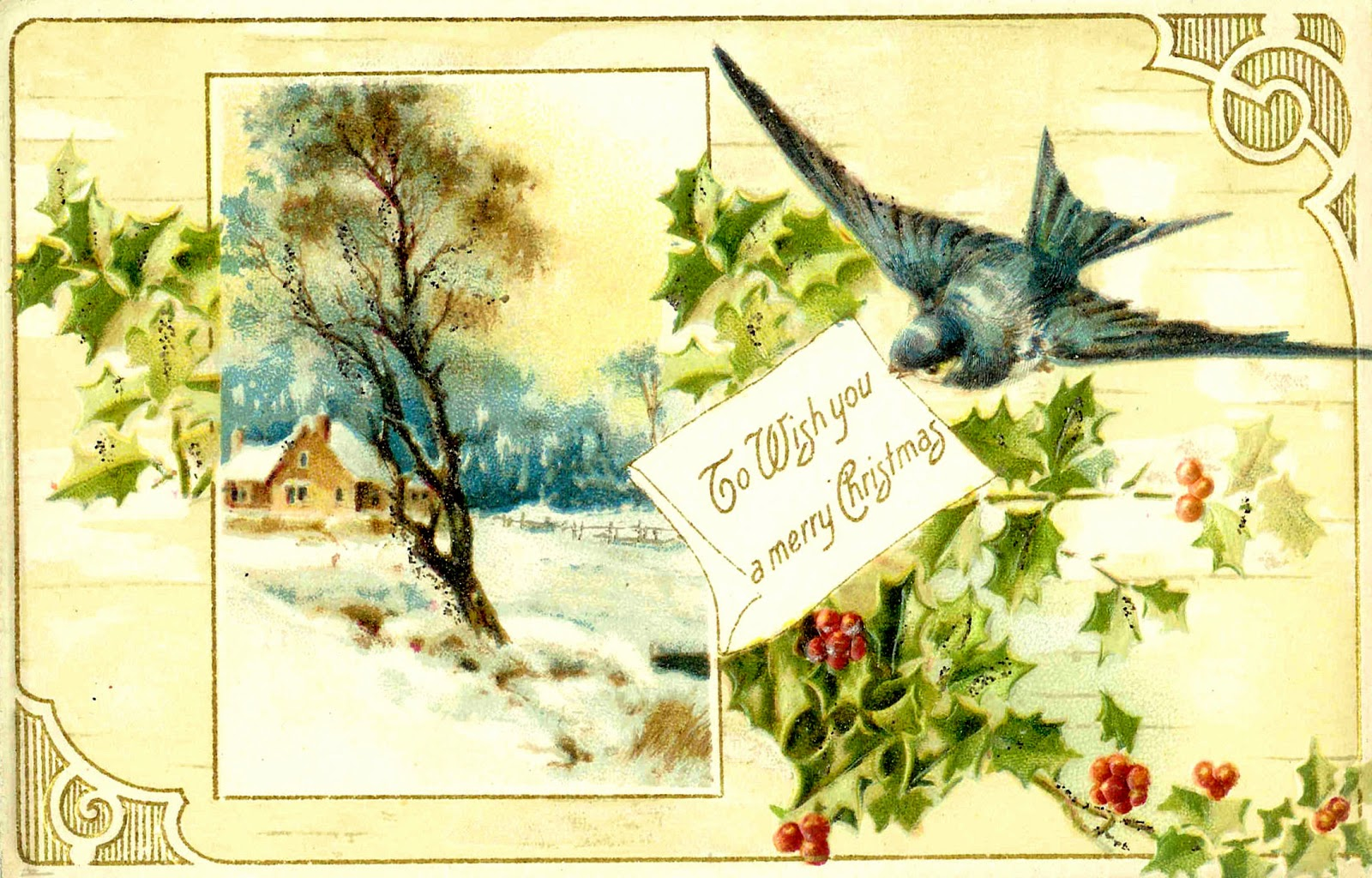 Free printable vintage christmas cards - Free Christmas Graphic Vintage Christmas Postcard With Blue Bird And Holly