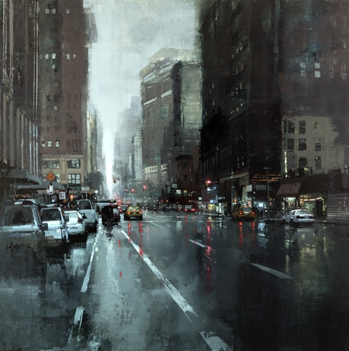 19-New-York-Rains-Jeremy-Mann-Figurative-Painting-in-Cityscapes-Oil-Paintings-www-designstack-co