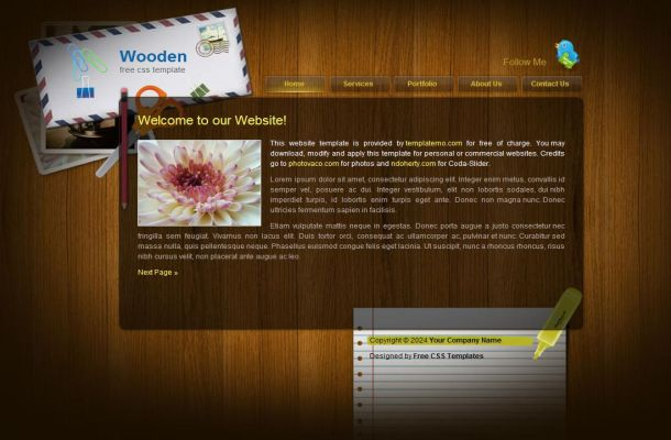 Free Wooden Business CSS HTML Website Template