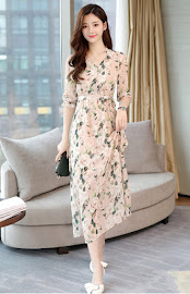 2018 Half Sleeve Beige Rose Print Long Dress