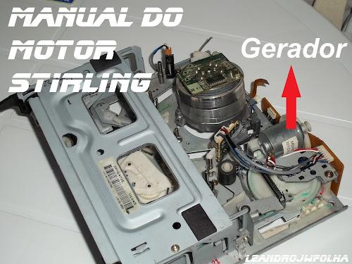 Manual do motor Stirling, máquina de vídeo cassete de onde é retirado o gerador