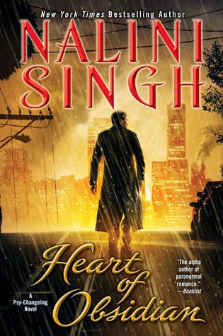 Cover description, Heart of Obsidian by Nalini Singh: a city on fire on the background and we see a man walking away in the middle of the rain. He's wearing a black raincoat, but we just see his silhouette. The tones of the cover are all blacks and yellows.