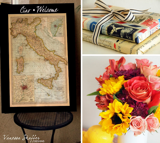 As Guests Entered They Were Welcomed With This Ciao Sign And A Map Of Italy To Carry On The Honeymoon Theme I Gave Emily A Passport Cover And Guidebook
