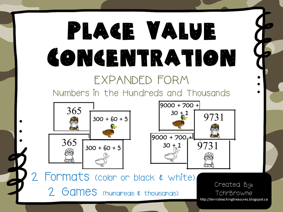 http://www.teacherspayteachers.com/Product/Duck-Dynasty-Place-Value-Concentration-Hundreds-and-Thousands-882017