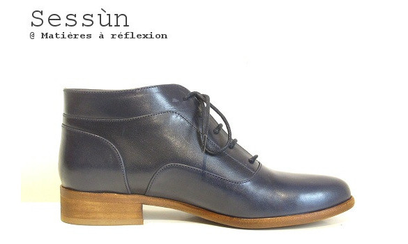 Derbies cuir bleu marine Sessun