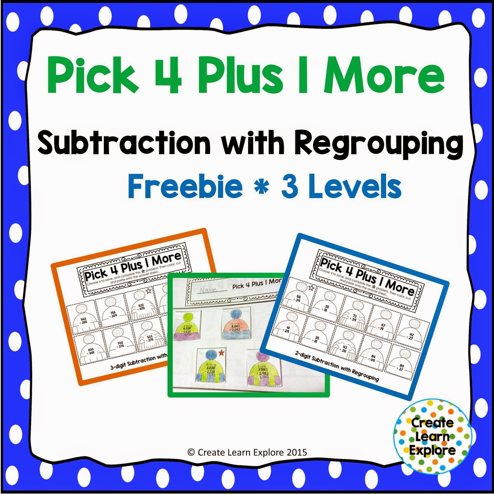 http://www.teacherspayteachers.com/Product/Subtraction-with-Regrouping-Pick-4-Plus-1-More-1639549