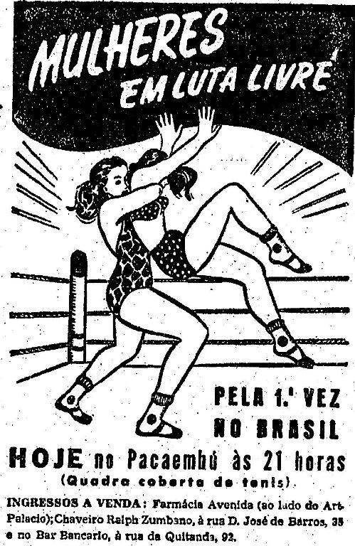 Luta livre de mulheres em 1950, cidade de São Paulo. Propaganda veiculada no jornal 'O Estado de São Paulo'.