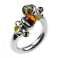 Baltic Amber and Sterling Silver Adjustable Designer Ring