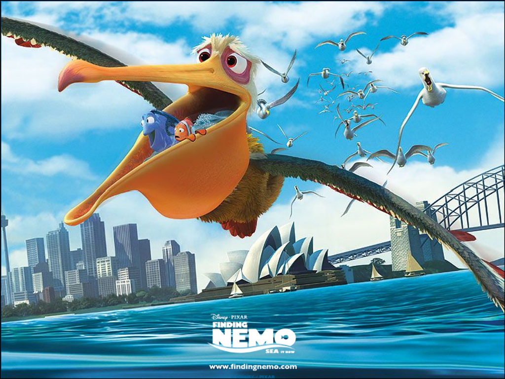 Nigel the bird carrying Marlon to the dentist in Finding Nemo