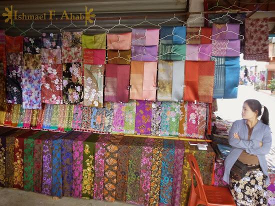 Myanmar cloth for sale in Mae Sai, Thailand