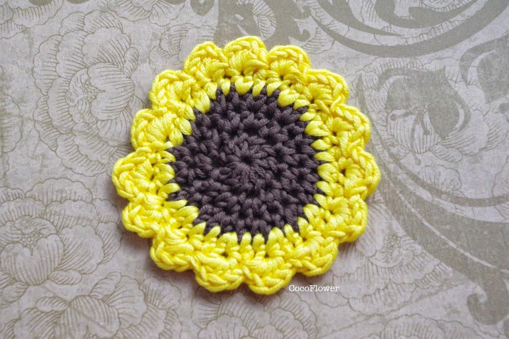 Fleur de tournesol applique crochet jaune marron - www.cocoflower.net
