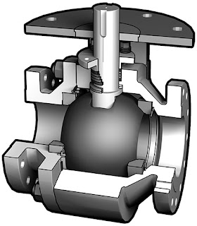 Industrial ball valve for severe service - section view