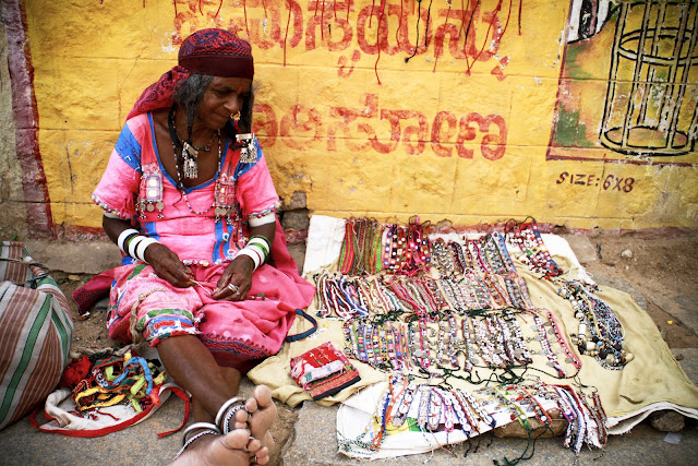 gypsy stall, Hampi, Indian lady, tribal jewellery