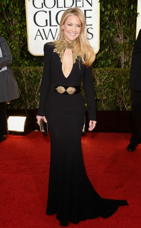 Kate Hudson, In Alexander McQueen, 2013 Golden Globes, Jason Merritt  red carpet on black dress for lovely woman
