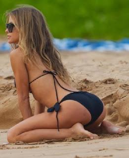 Carmen Electra Black Bikini Maui Hawaii