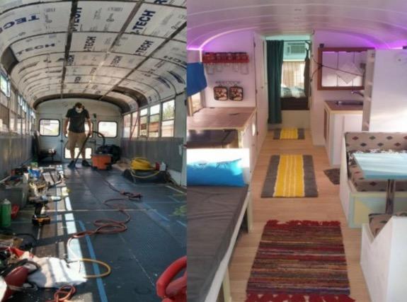 Pengubahsuaian bas sekolah jadi rumah mini bergerak