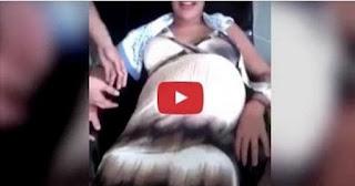 بالفيديو- لقطات مرعبة لبطن امرأة  حامل تتحرك