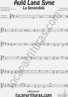 Partitura de La Despedida para Trompeta y Fliscorno Popular Italia Auld Lang Syn Sheet Music for Trumpet and Flugelhorn Music Scores