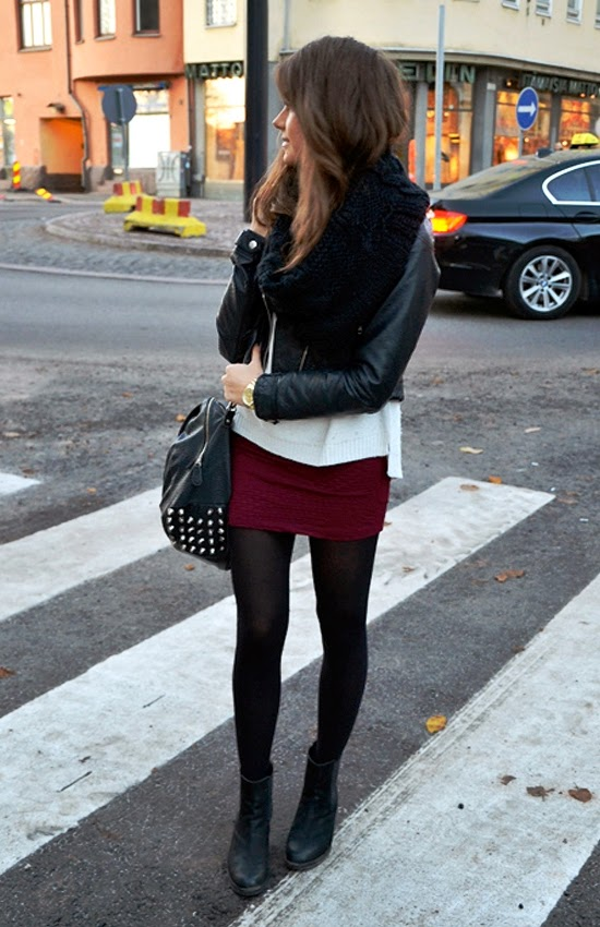 Beautiful fall look with burgundy skirt, scarf, jacket and leggings