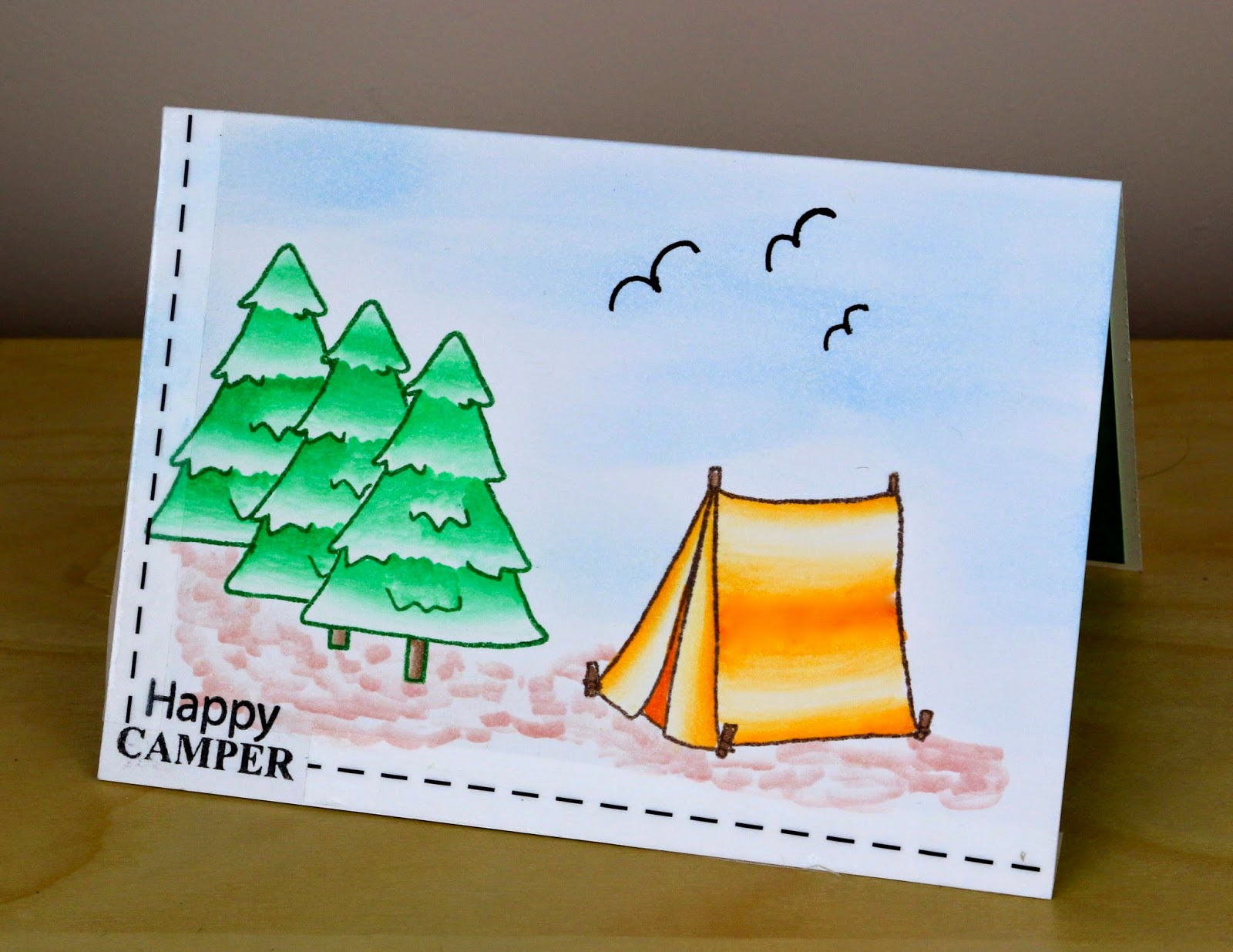 SRM Stickers Blog - Happy Camper Pop Up Card by Cathy A - #card #popup #stamped #stickerstitches #janesdoodles #clearstamps