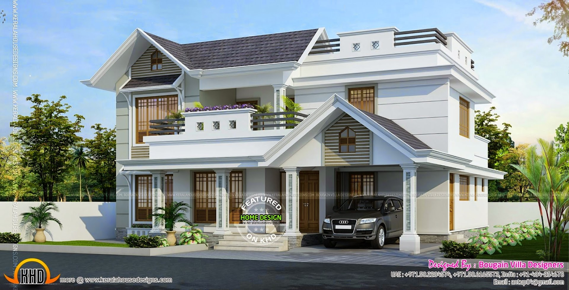 Classic style 4 bedroom house kerala home design and for Classic architecture homes