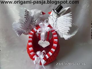 Gołębie z koszem - origami modułowe