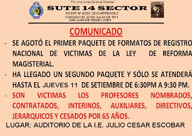 RECEPCIÓN Y ENTREGA DE NOMINA DE VICTIMAS DE LA LEY 29944