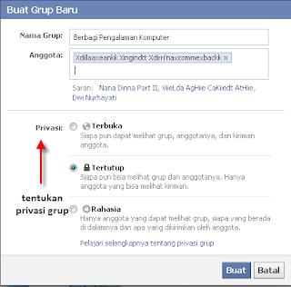Tentukan Privasi Grup