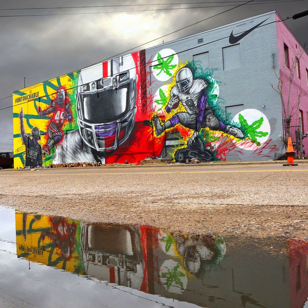 Our friend Madsteez recently spent some time in the lovely city of Dallas where he was invited by Nike to work on a new mural for the College Football Championships.