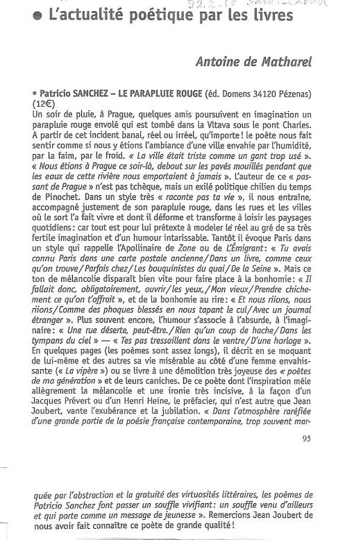 Patricio SANCHEZ - Le parapluie rouge, Domens, 2011 - Critique d'Antoine de Matharel -