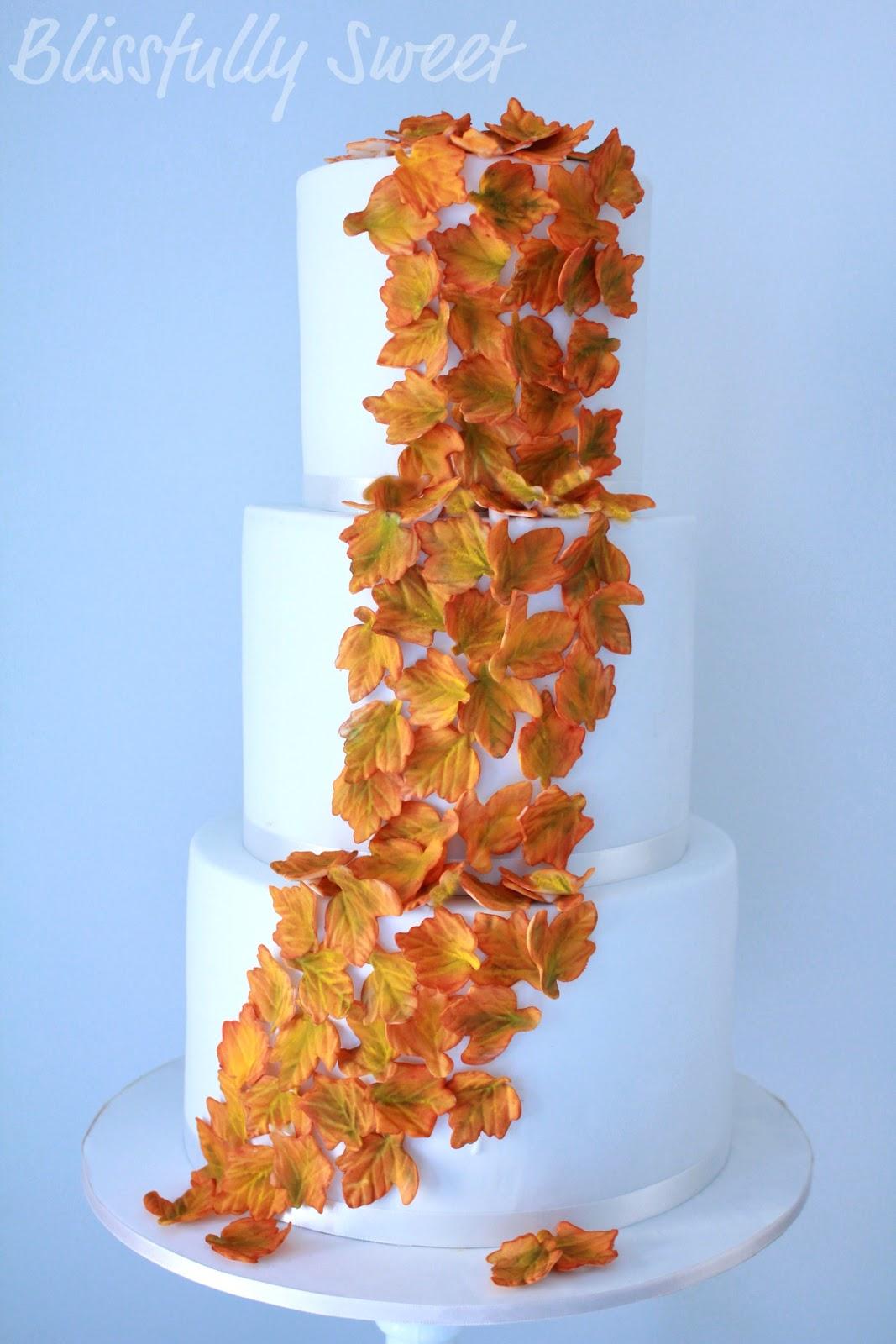 Blissfully Sweet Autumn Leaves Wedding Cake