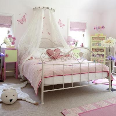 dormitorio niña rosa verde