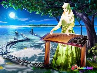 Wallpaper gambar kartun muslimah keren