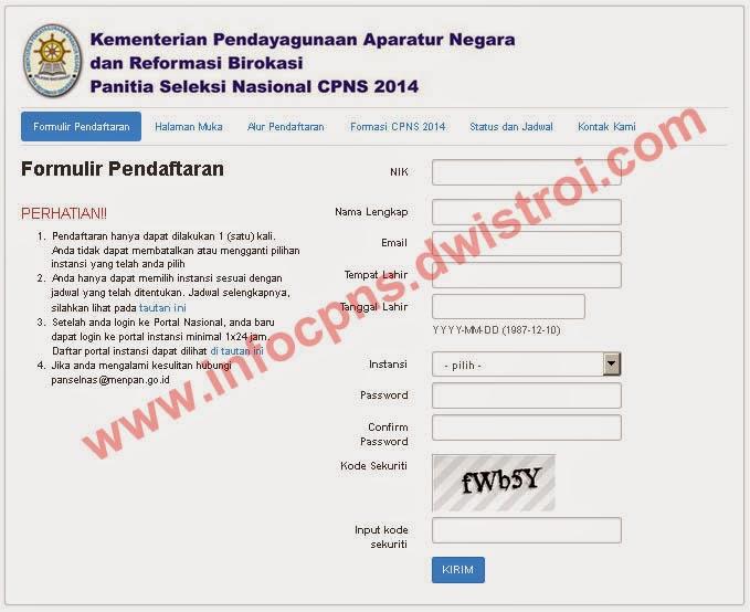 Formulir Pendaftaran CPNS 2014 Secara Online