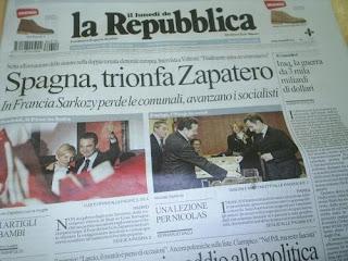 Victoria de Zapatero en 2008, diario La Repubblica