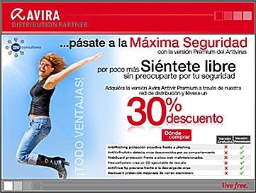 "NAVEGA SEGURO X LA RED haciendo ""clic"" abajo.  ""AVIRA Antivir""."
