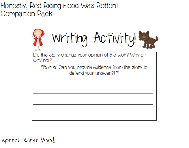 Honestly red riding hood was rotten storybook companion pack writing activity this will help tap into your students higher level thinking ccuart Image collections