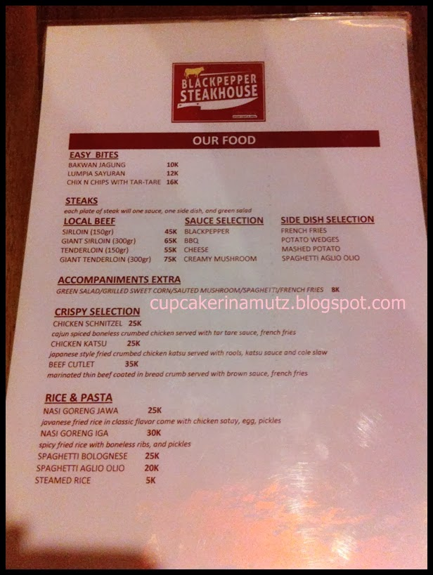 Kuliner jogja blackpapper steak house rina chabbymutz for Z kitchen jogja menu