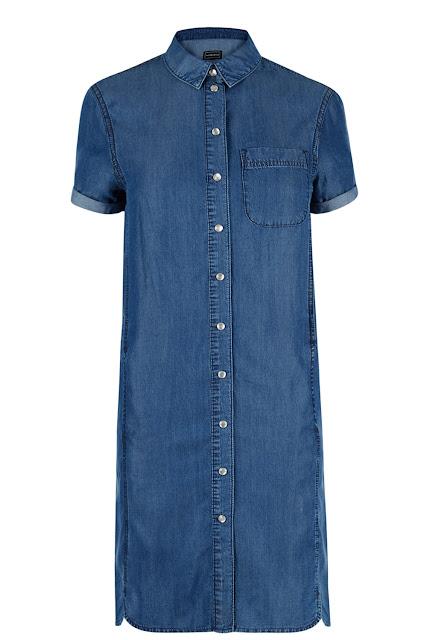 warehouse denim dress, denim shirt dress, short sleeved denim dress,