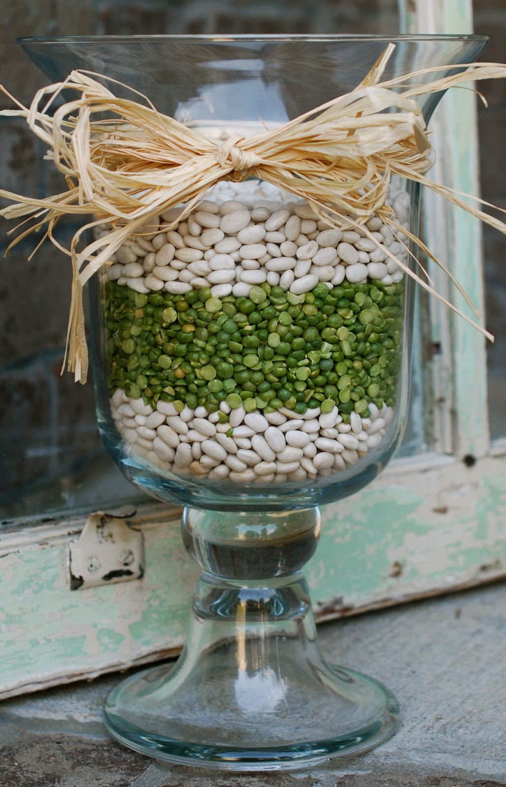 Springsummer hurricane vases amanda jane brown for spring and summer i decided to go with split peas and white northern beans reviewsmspy
