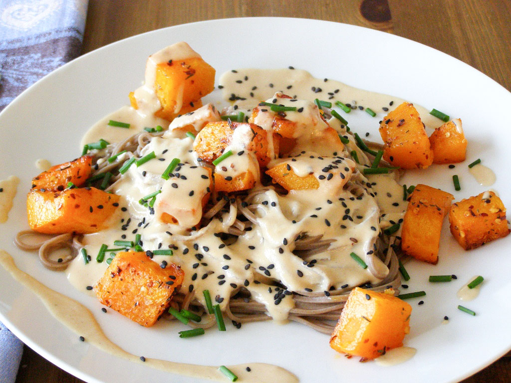 ... Roasted Butternut Squash with Soba Noodles and a Miso-Tahini Sauce