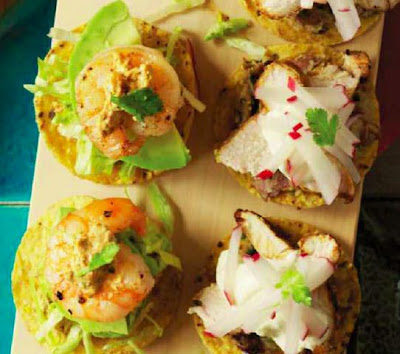 Prawn Tostadas with Almond and Guajillo Chilli Salsa