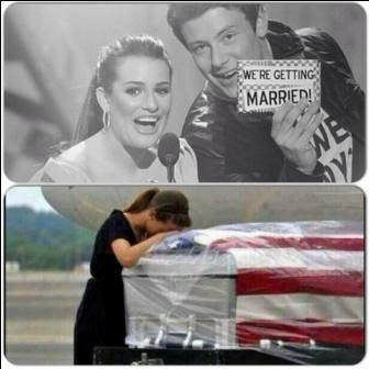 Cory Monteith And Lea Michele The Wedding Turns To A Funeral Tv Series Craze