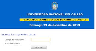 UNAC Resultados examen Universidad Nacional del Callao 2014 I 27 Julio