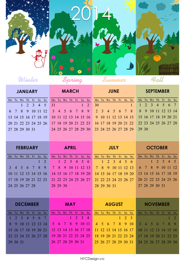 2014 Calendar - Printable - 4 Seasons - A4 Paper Size