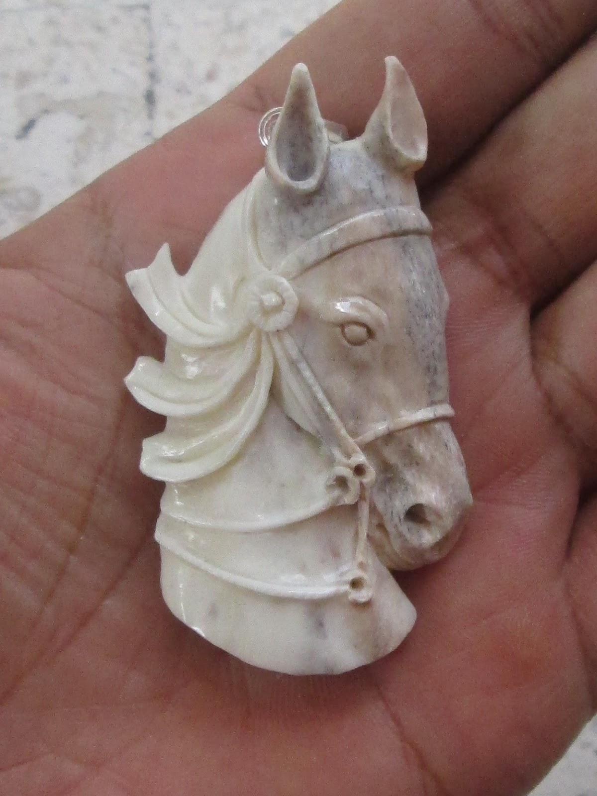 Horse Head Carved Bone Pendant