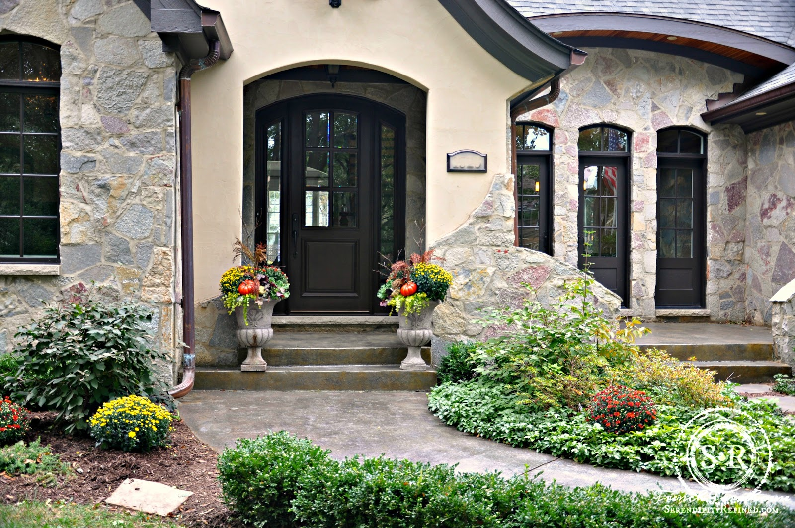 Abundant Harvest Fall Urn Planters For A Stone And Stucco Home