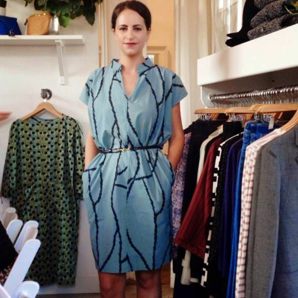 New teal patterned shift dress by Ilana Kohn; available at Vancouver boutique Oliver + Lilly's fall 2014.