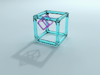 CUBE HANGING ON A CUBE HD WALLPAPER